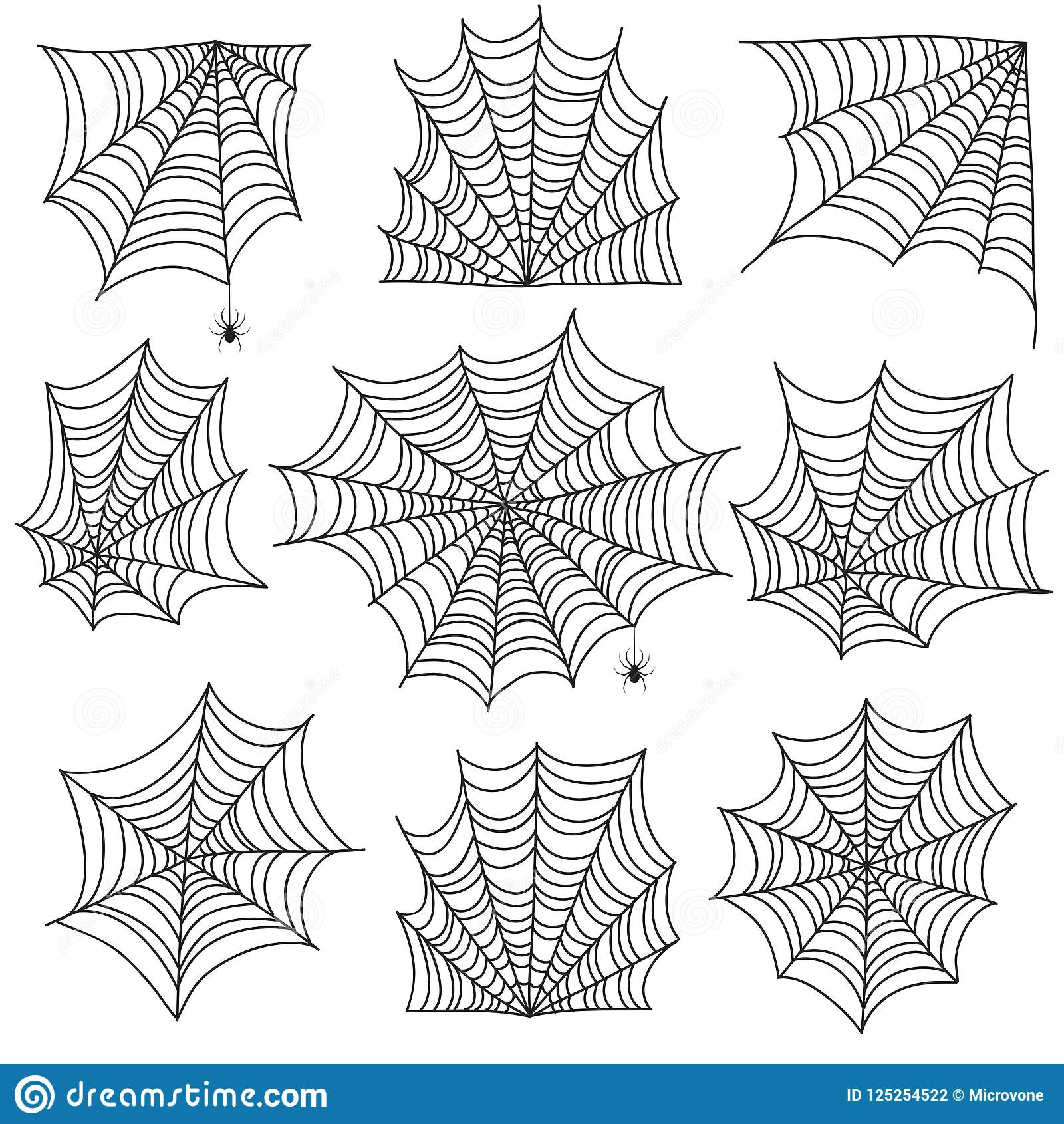 Spooky Cobweb And Web Corners With Spider Halloween Vector Icons