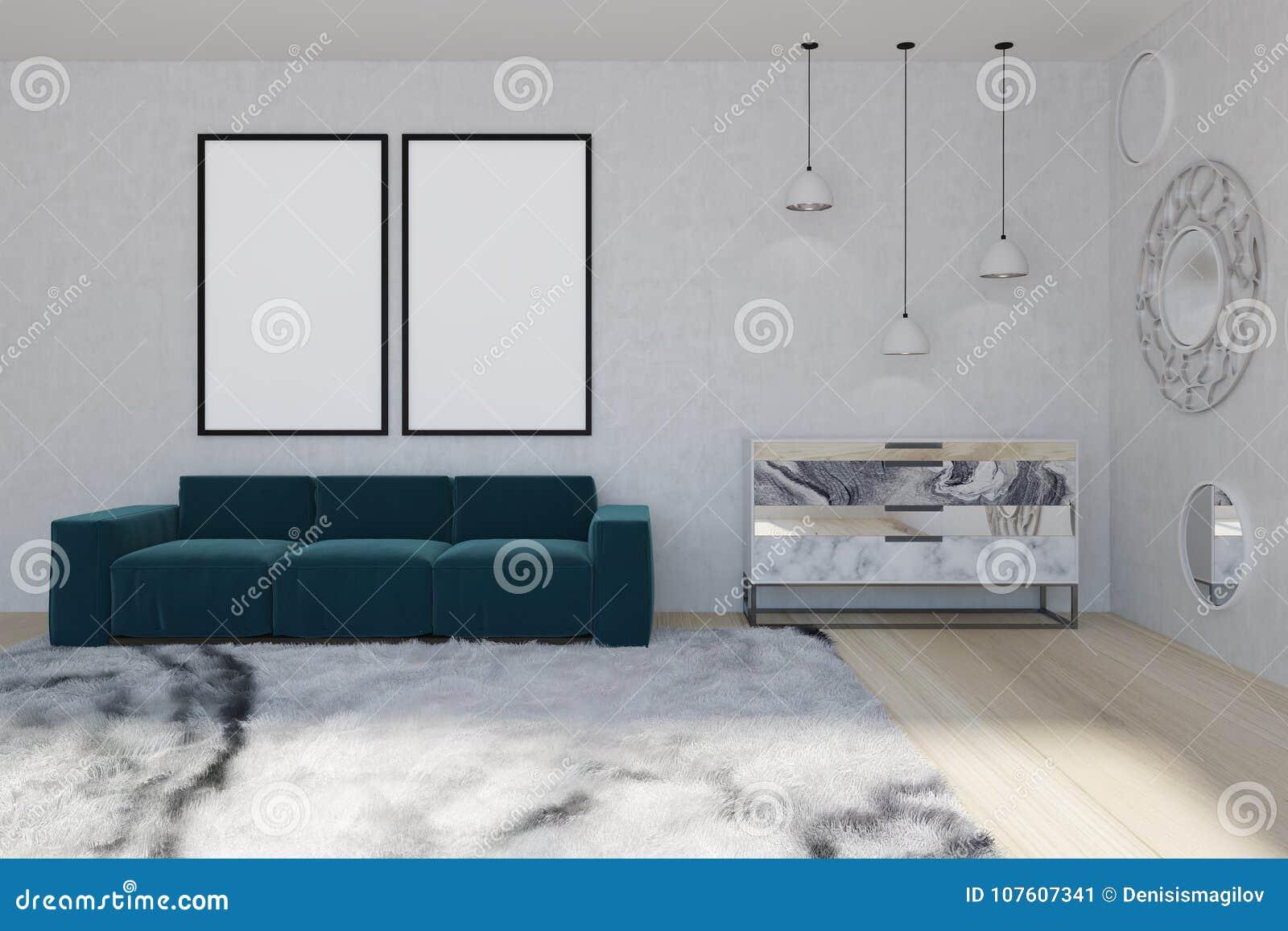 Spiegelwohnzimmer Blaues Sofa Stock Abbildung Illustration Von