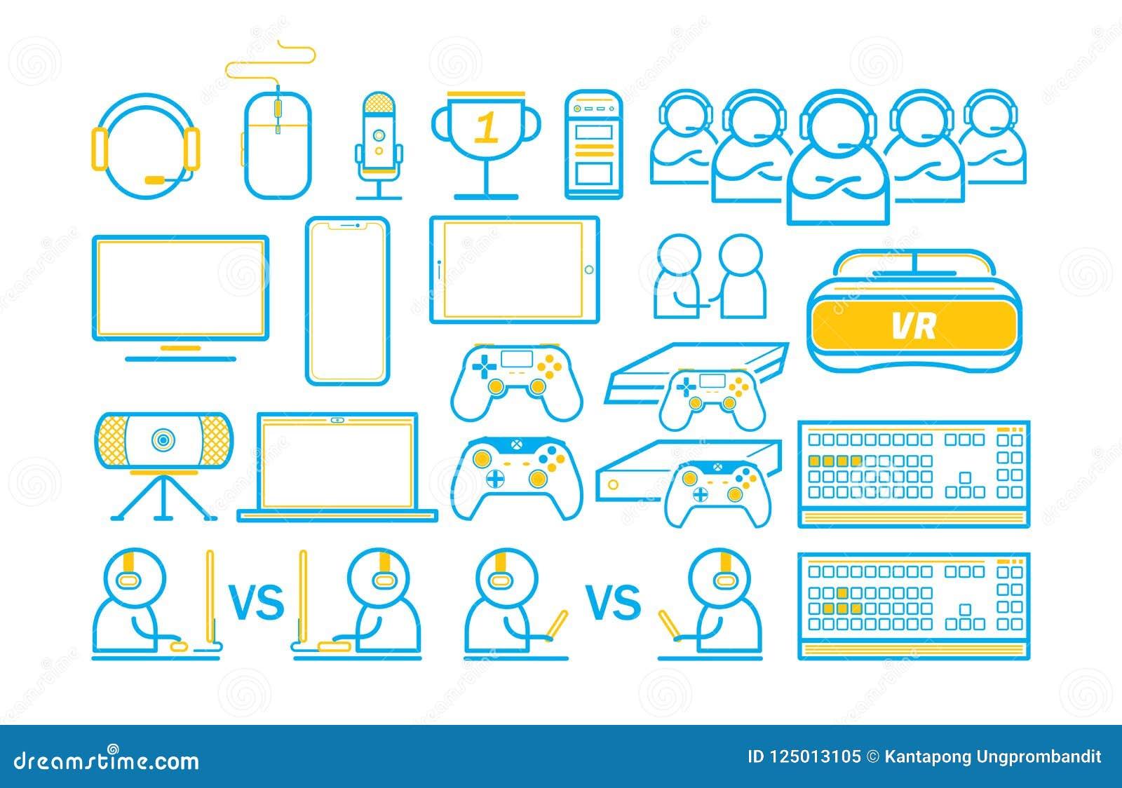 Spiel-und Technologie Spiel unterhalten dünne Linie die eingestellten Ikonen