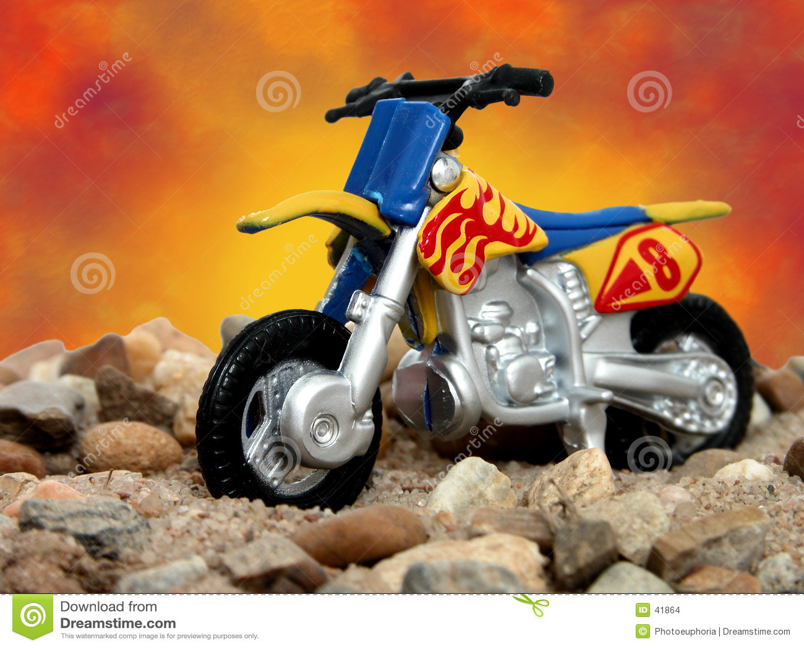 Spielen Sie blaues und gelbes Schmutz-Fahrrad