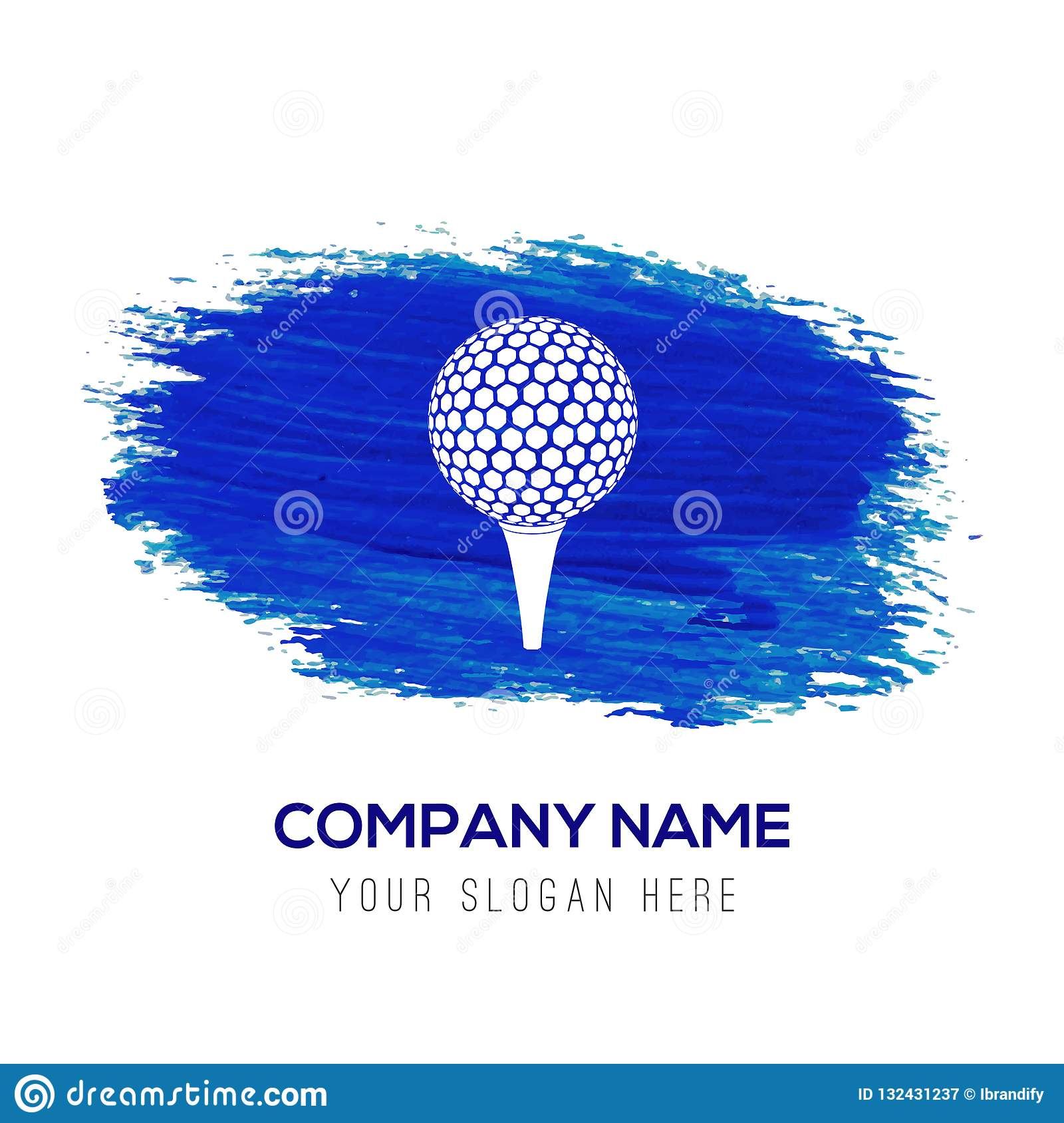 Spielen Sie gekreuzte T-Stücke Ikone - blauen Aquarellhintergrund Golf