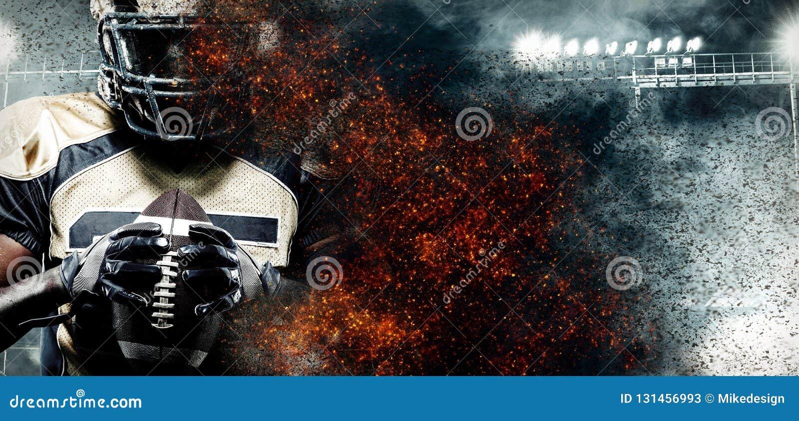 Spieler des amerikanischen Fußballs, Athlet im Sturzhelm auf Stadion im Feuer Sporttapete mit copyspace auf Hintergrund