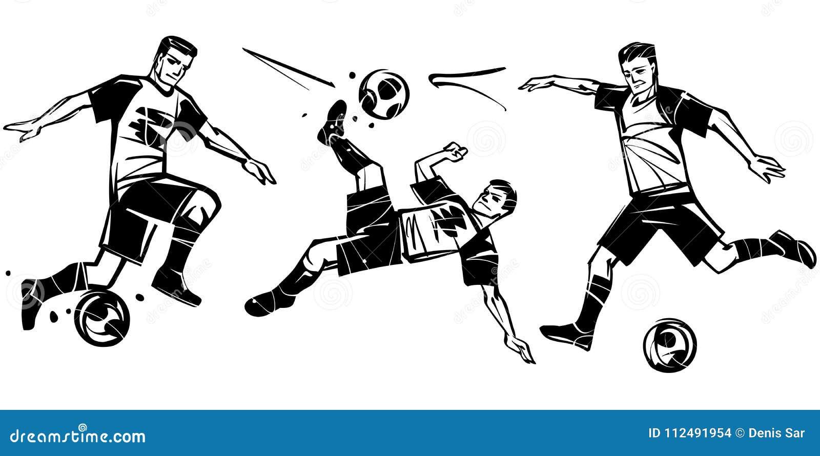 Spieler Im Fussball Fussballvektorillustration Vektor