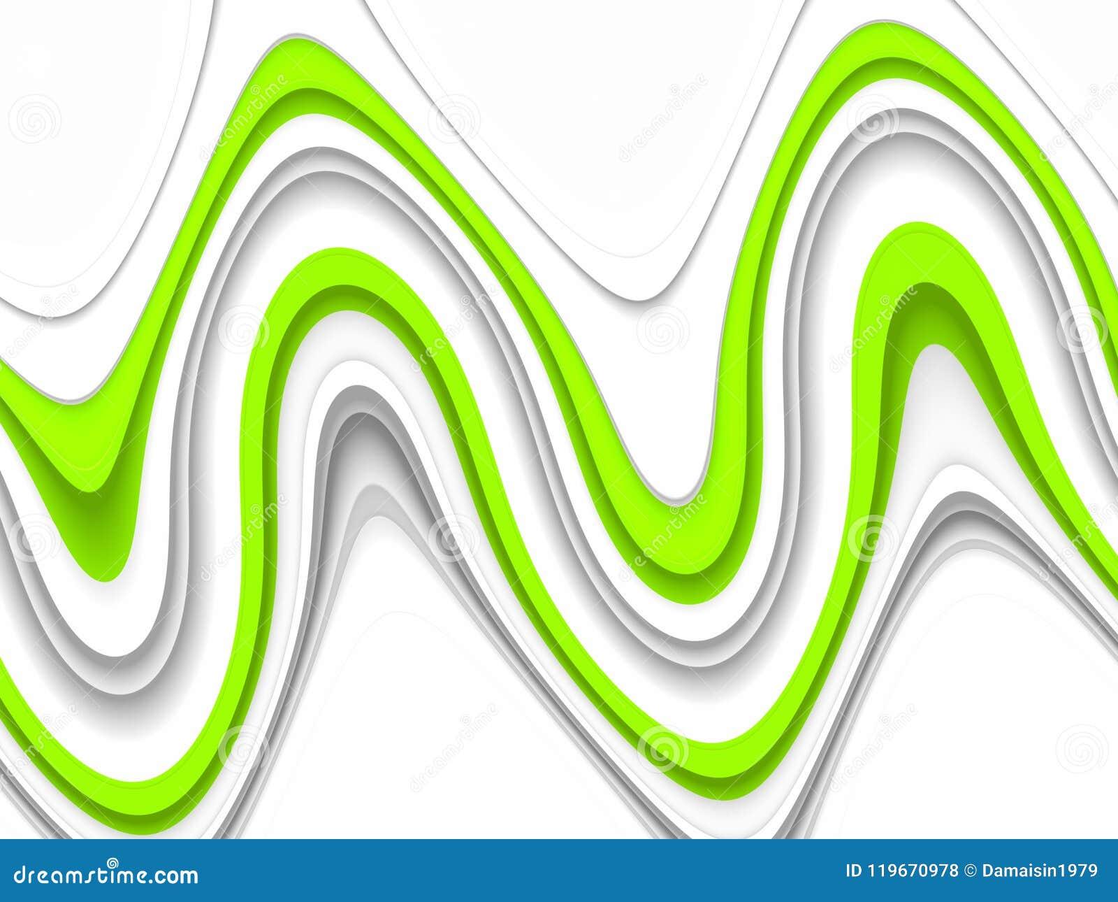 Spielerischer grüner phosphoreszierender Wellenhintergrund Wellen wie Formen, abstrakter Hintergrund