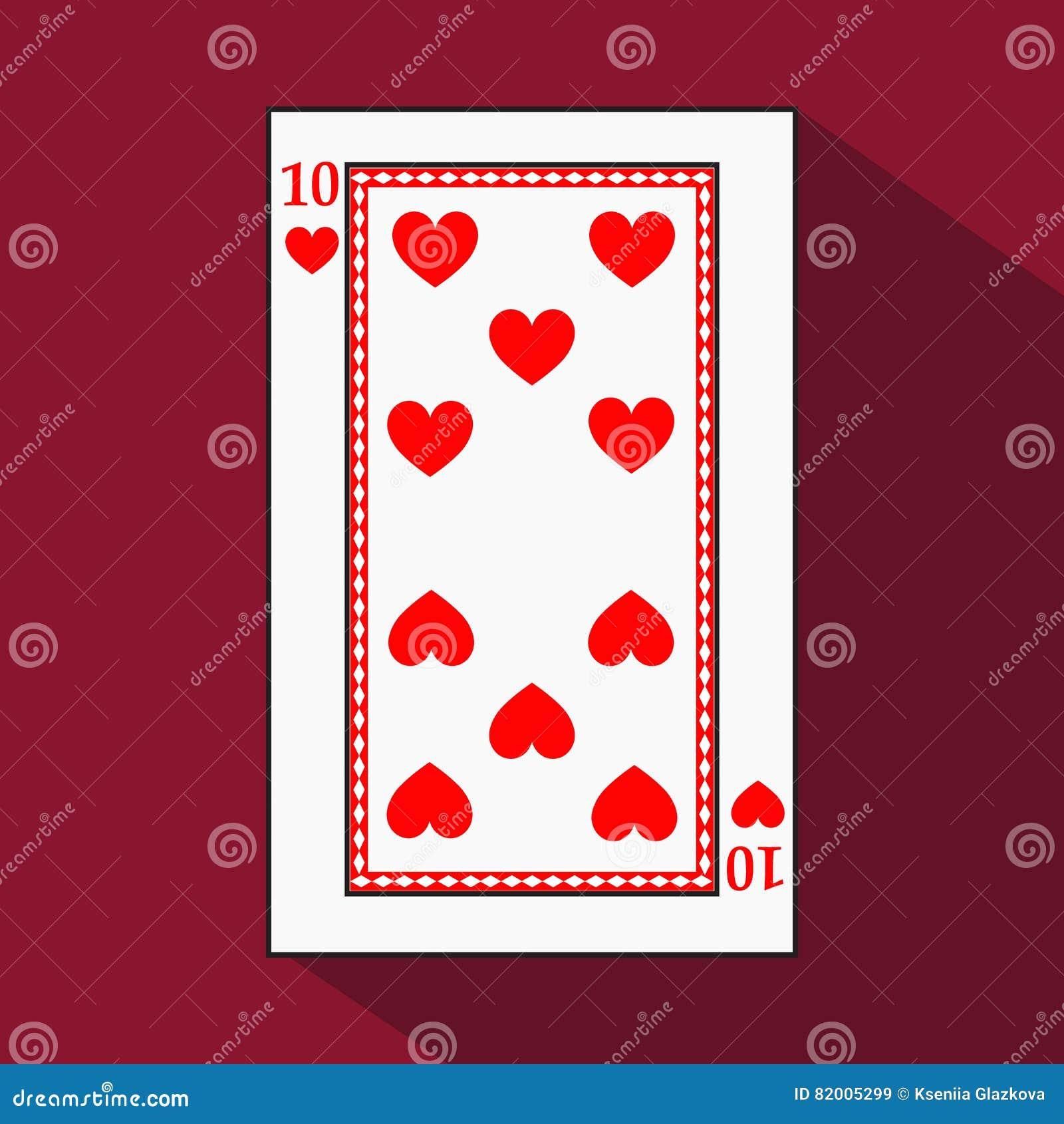 Spielkarte das Ikonenbild ist einfach HERZ ZEHN 10 mit Weiß ein Basissubstrat Illustration auf rotem Hintergrund applicat