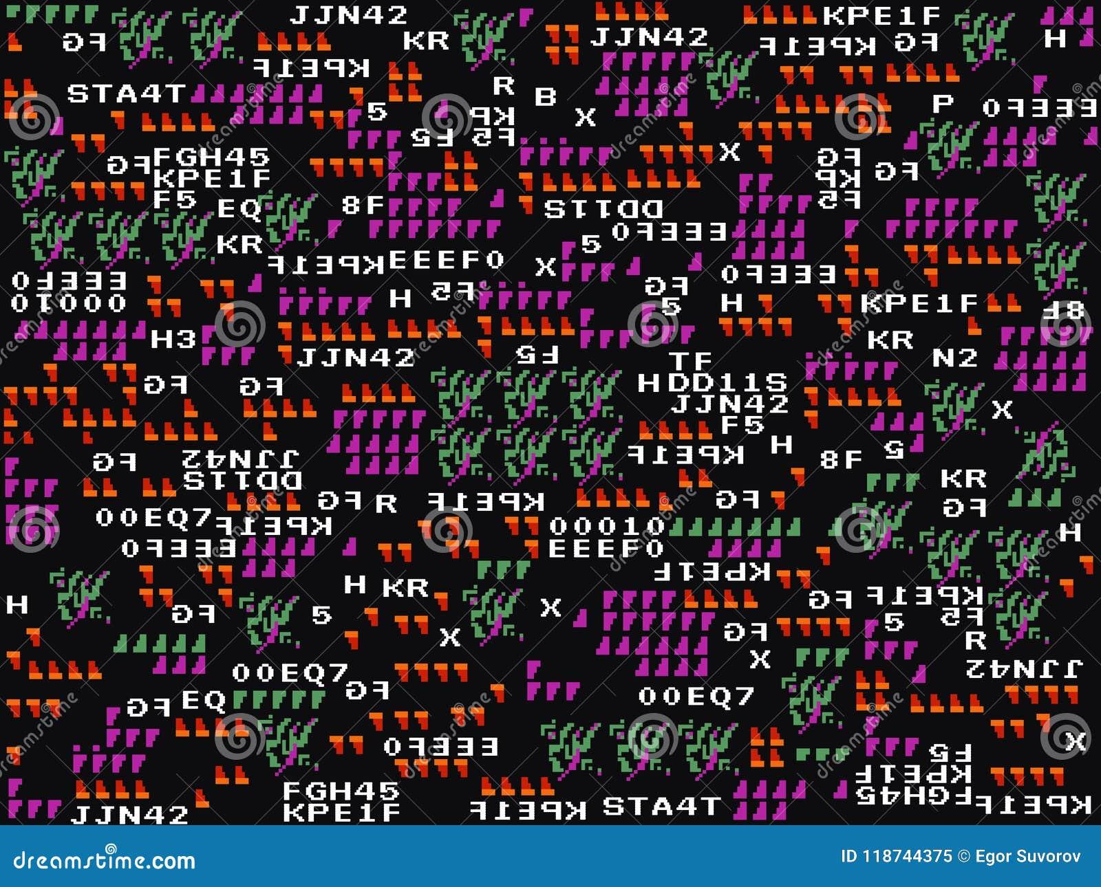 Spielstörschubhintergrund Abstrakte Symbole und Formen auf dunklem Hintergrund Moderne Auslegung Spieltapete Alte Schulspaß