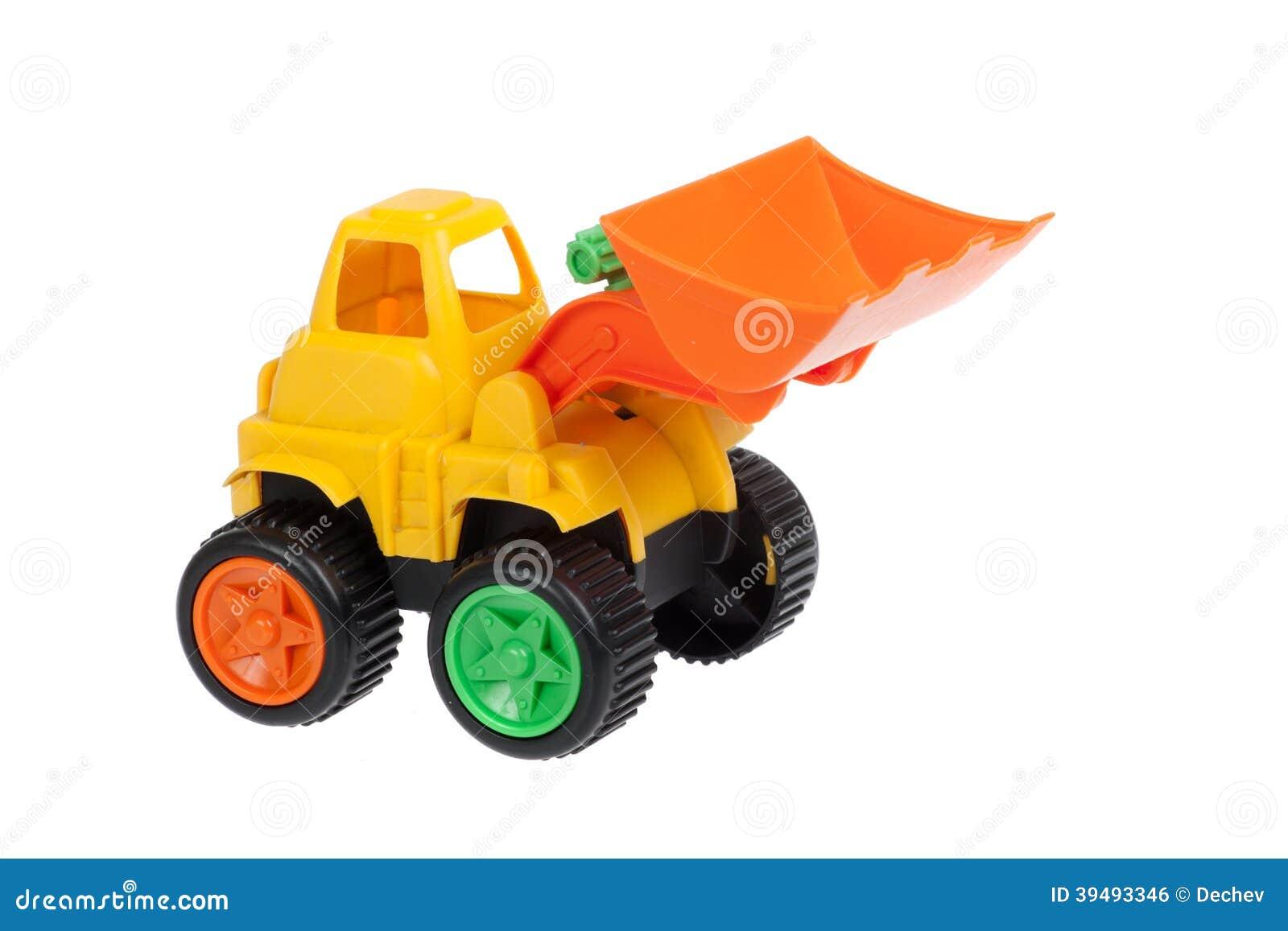 Spielzeug planierraupe lokalisiert stockfoto bild von
