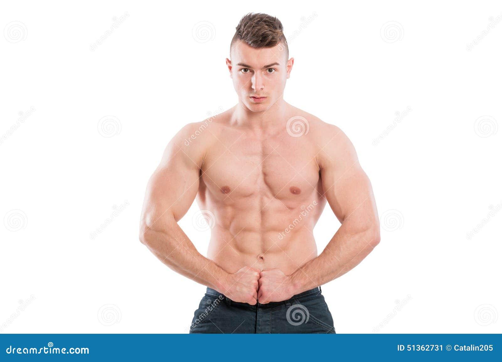 Spier mannelijke modelverbuigingsabs en wapens