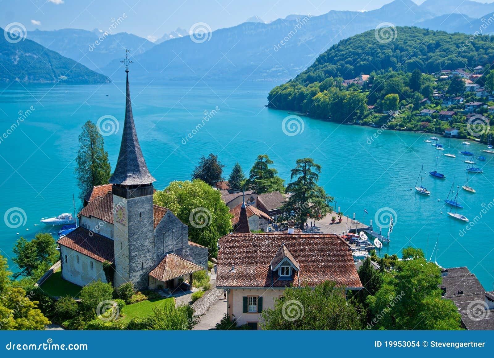 Spiez Switzerland  City new picture : Spiez Church, Lake Thun, Spiez, Switzerland. Stock Images Image ...