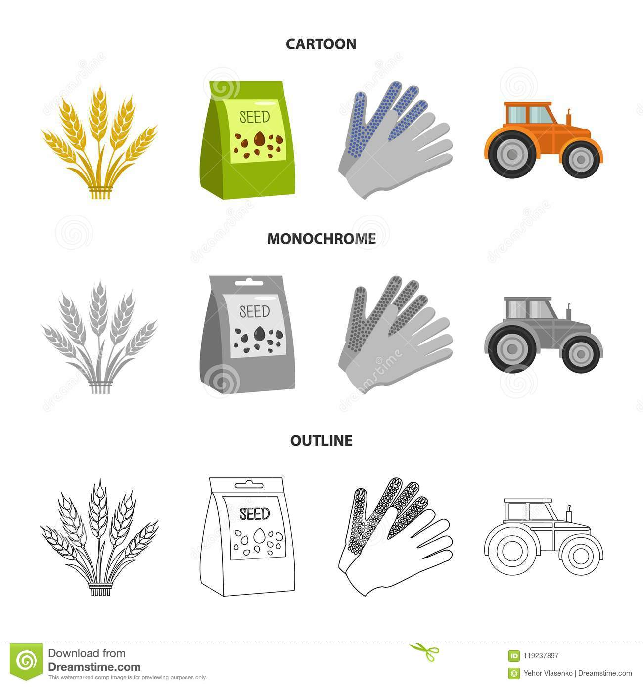 Spikelets Of Wheat A Packet Of Seeds A Tractor Gloves Set