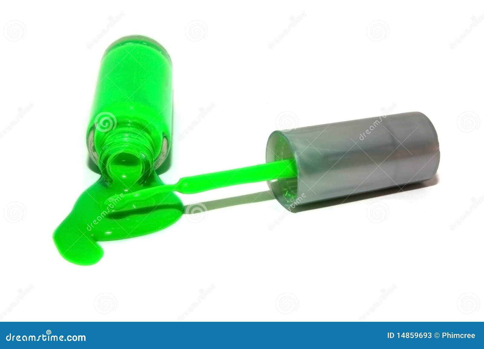 Spilled Neon Green Nail Polish