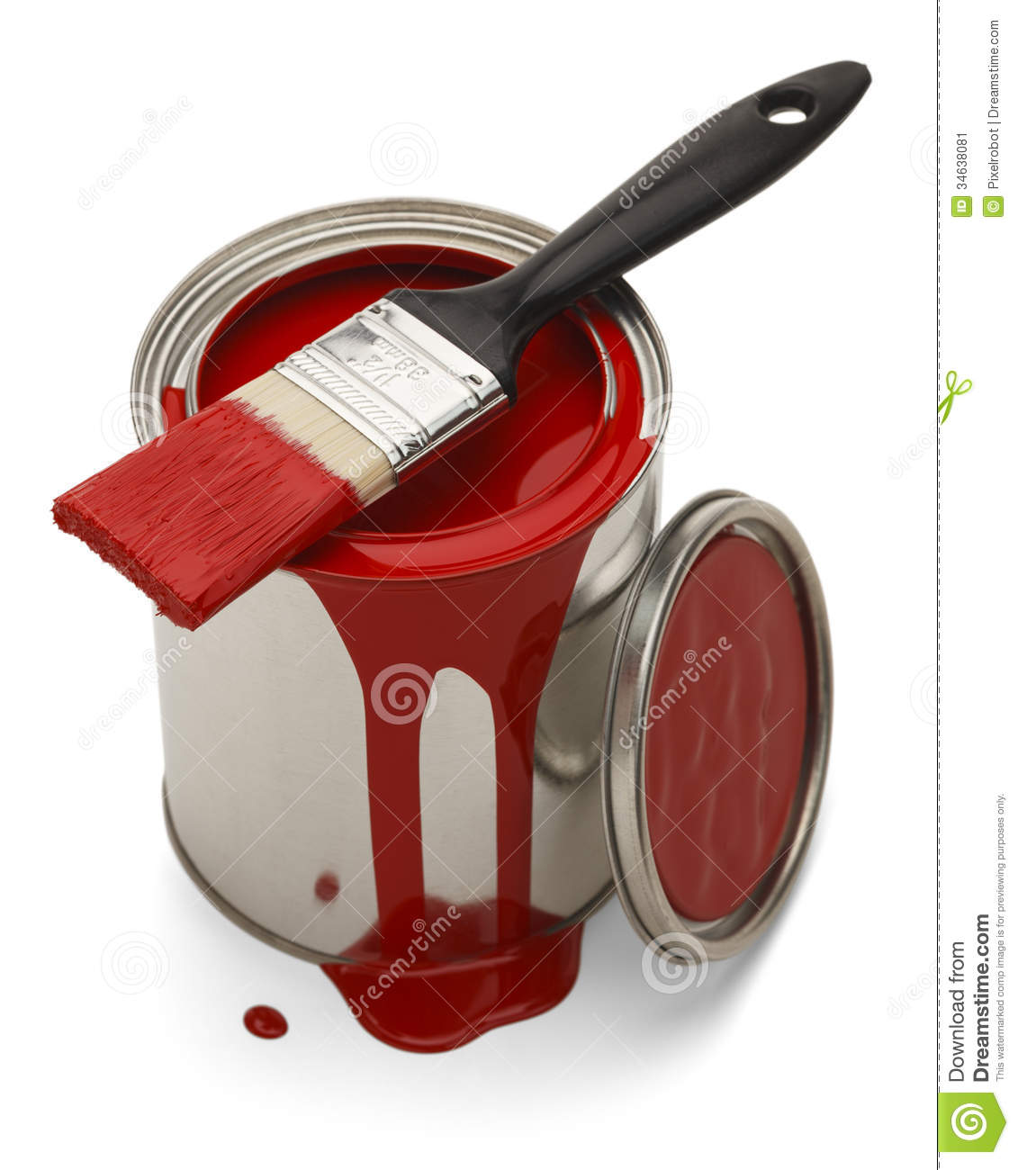 Red Paint Spilled with Brush Isolated on White Background.