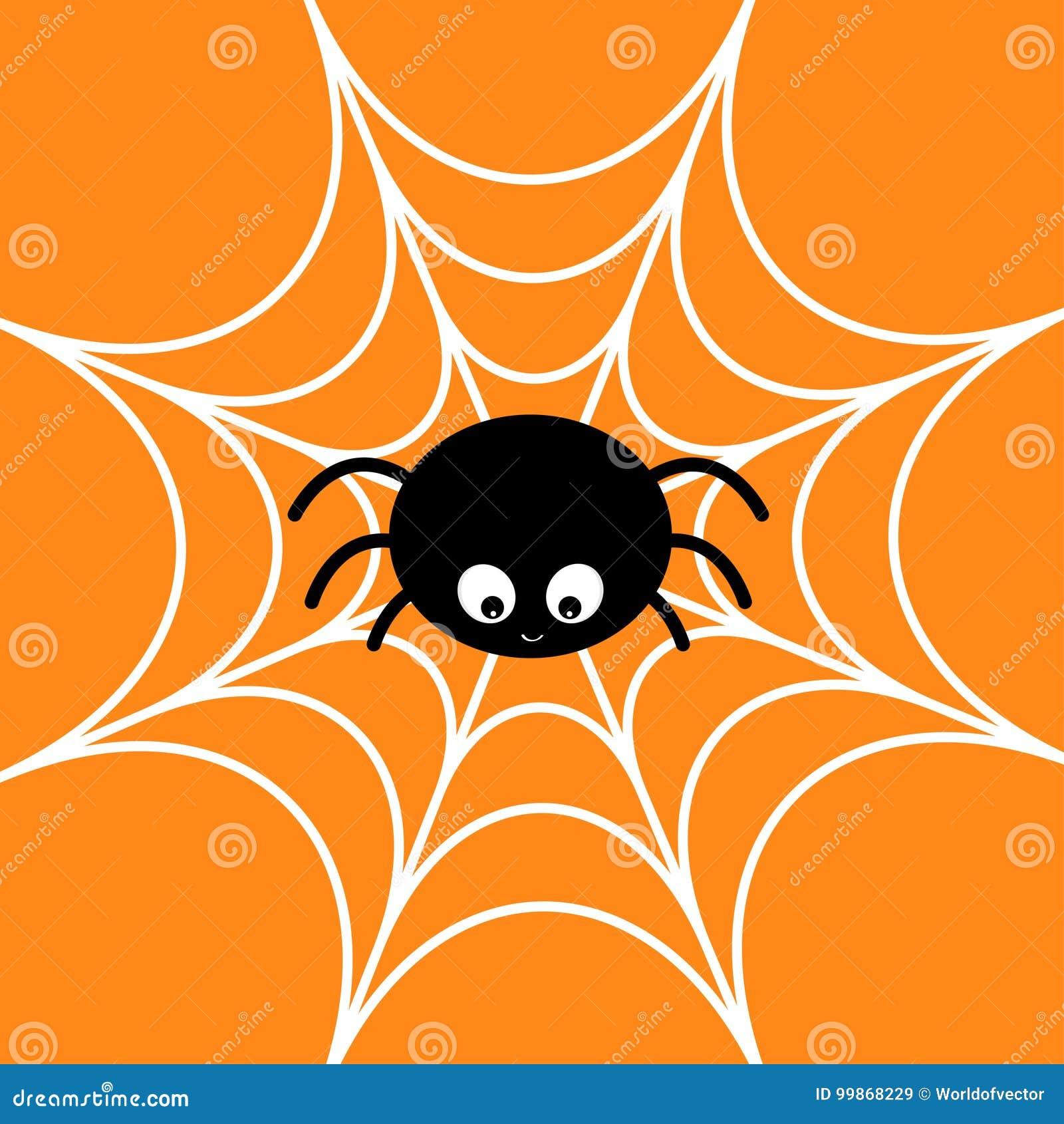 Spin op het Web Spinnewebwit Leuk het insectkarakter van de beeldverhaalbaby De gelukkige kaart van Halloween Vlak Ontwerp Oranje