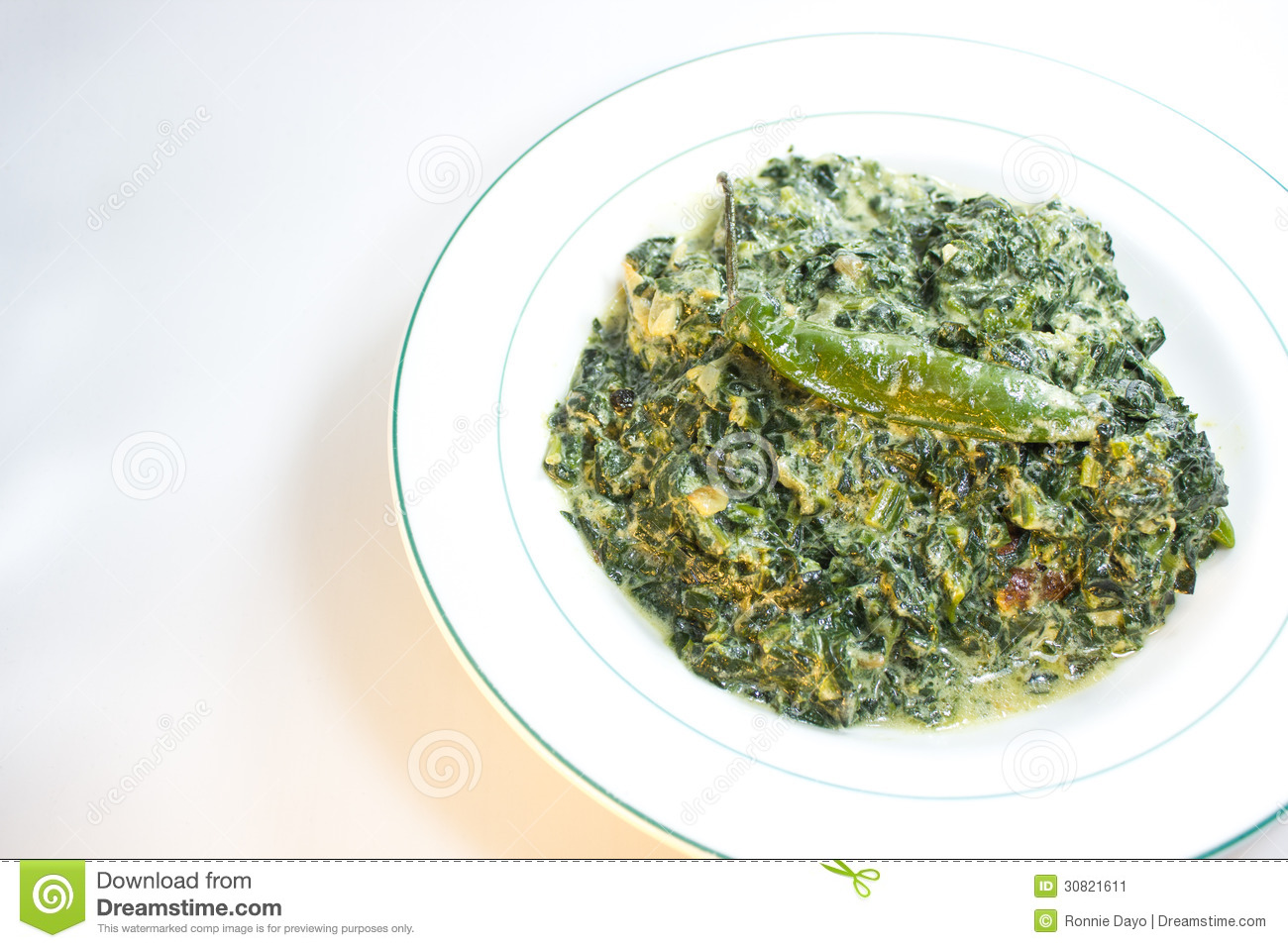 Spinach With Coconut Milk Stock Image - Image: 30821611