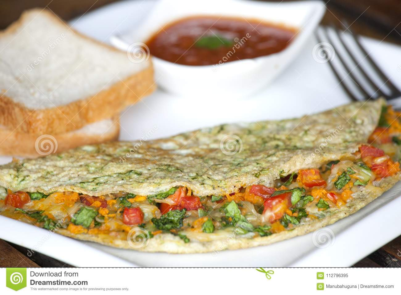 Spinach Egg White Cheese Omelette Stock Image Image Of Spinach