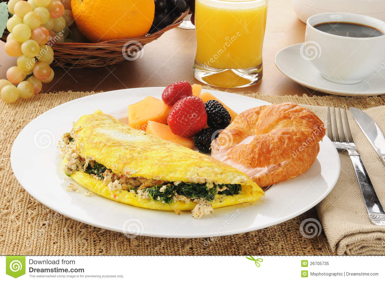 Spinach And Feta Cheese Omelet With A Croissant Royalty Free Stock ...