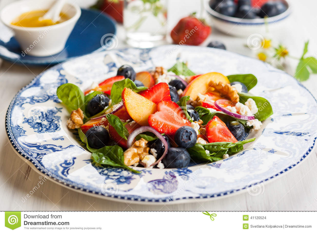 Spinach and Fruit Salad with Honey Mustard Vinaigrette.