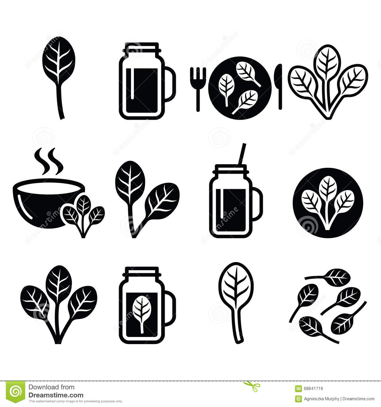 Spinach, Healthy Food - Green Smoothie Icons Set Stock ...