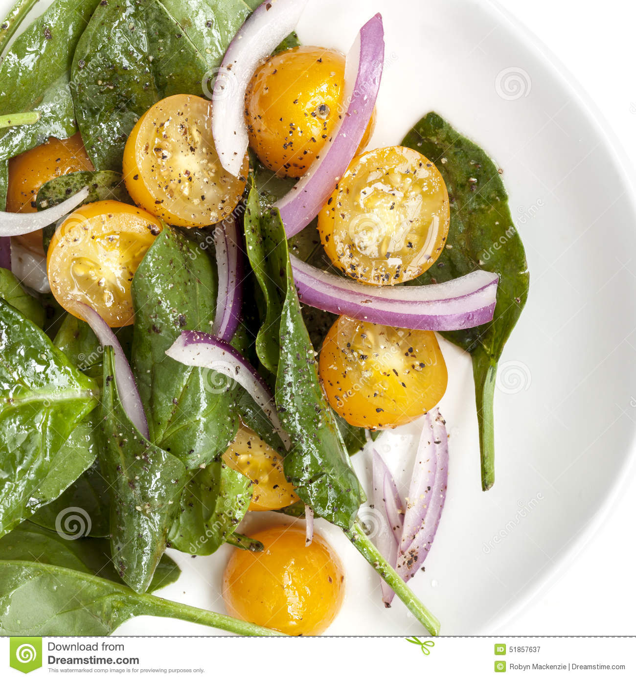 Spinach Salad with Yellow Cherry Tomatoes and Red Onion