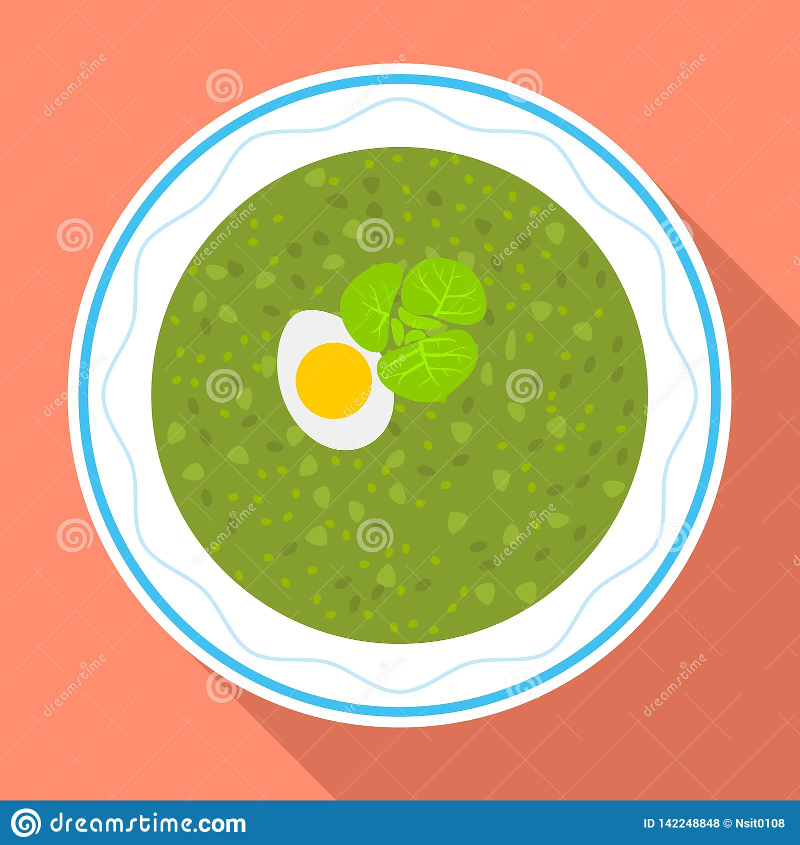 Spinach soup icon, flat style