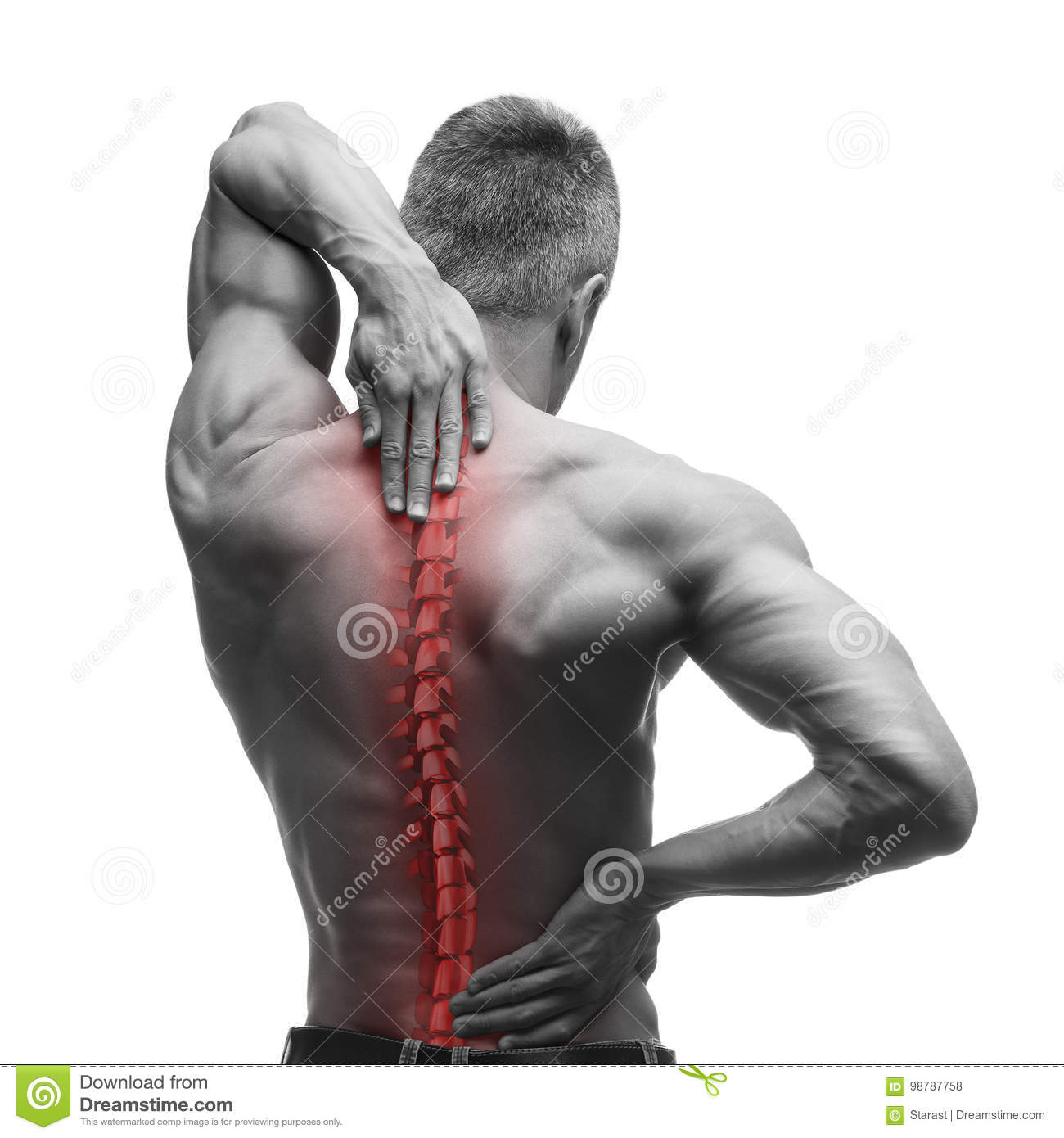 Download Spine Pain, Man With Backache And Ache In The Neck, Black And White Photo With Red Backbone Stock Photo - Image of cramp, bones: 98787758