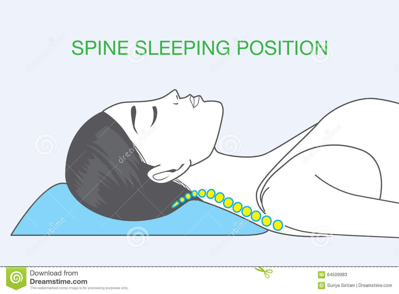 Spine Sleeping Position Stock Vector Image 64509983
