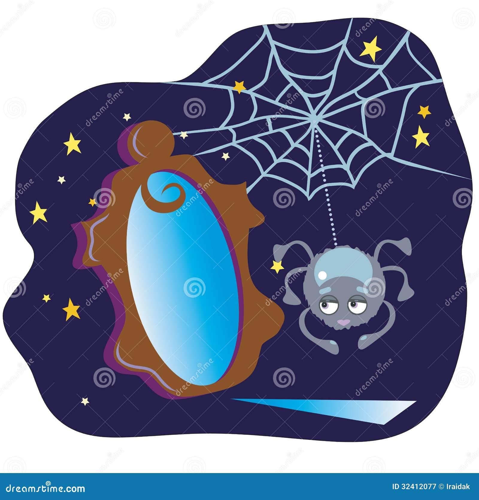 Spinne und der spiegel vektor abbildung illustration von for Stern oder spiegel
