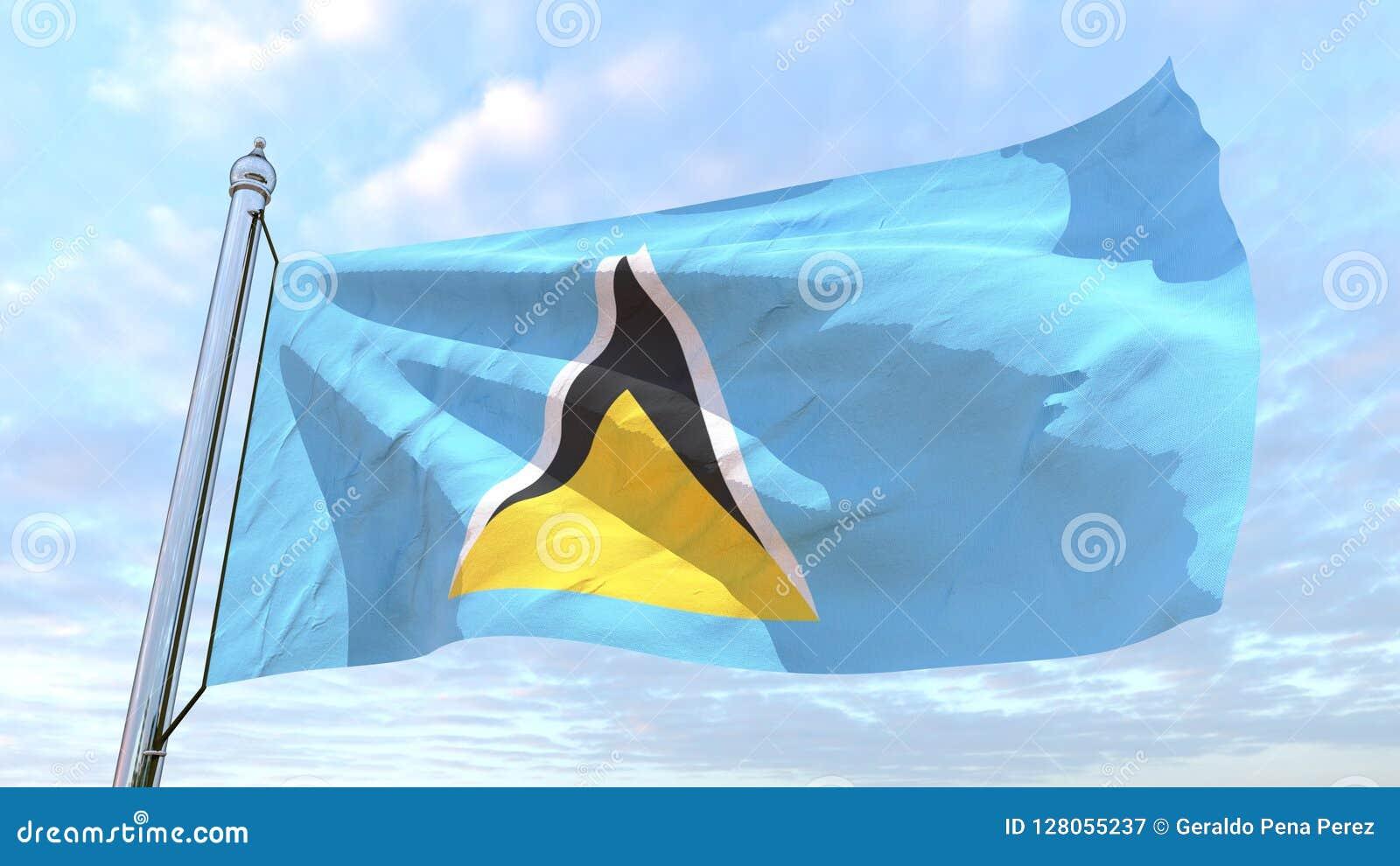 Spinnende Landesflagge St. Lucia