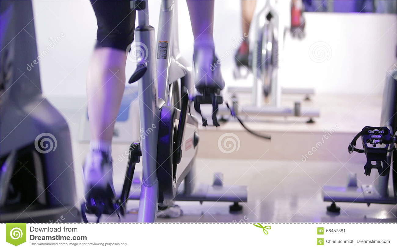 Spinning class: changing gear and constant speed stock footage.