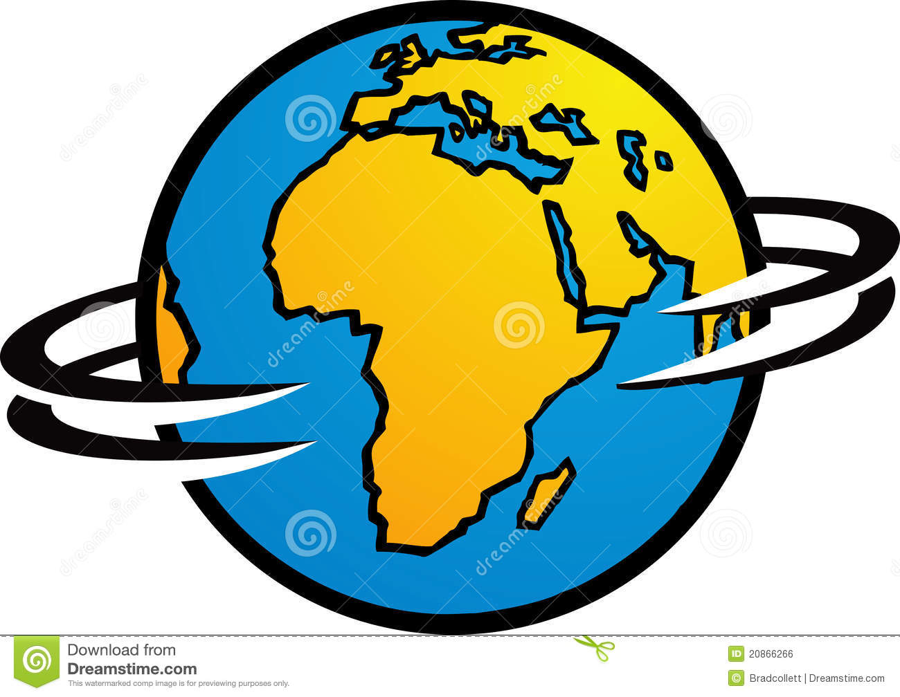 The earth is spinning around  showing Africa Spinning Globe Clip Art