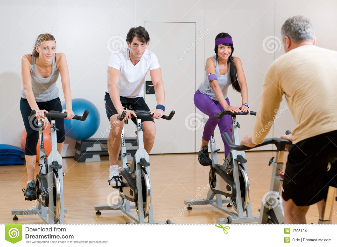 Spinning Exercises With Instructor Stock Image