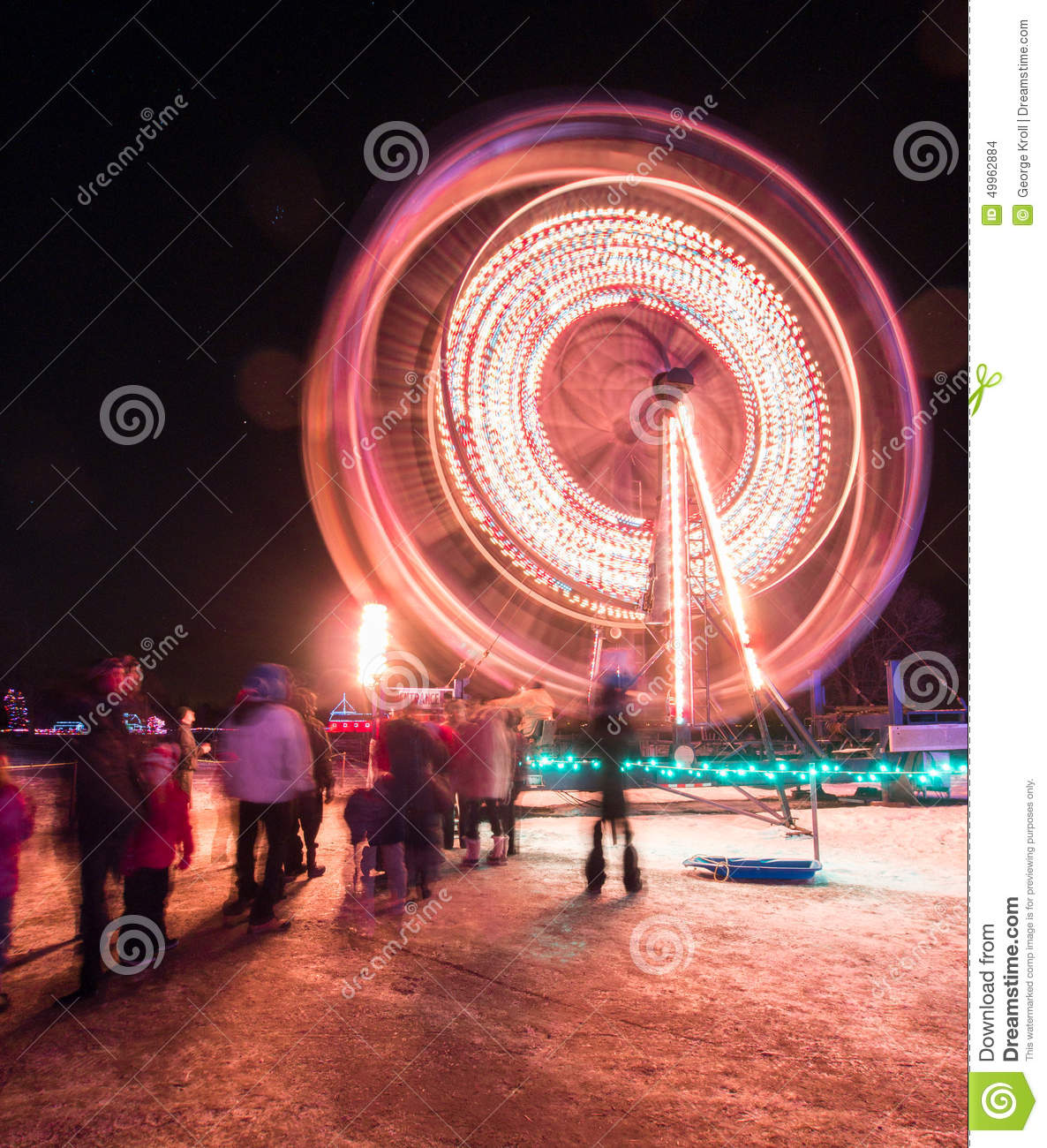 Night lights upper canada village - Spinning Ferris Wheel At Night Upper Canada Village Editorial Stock Image