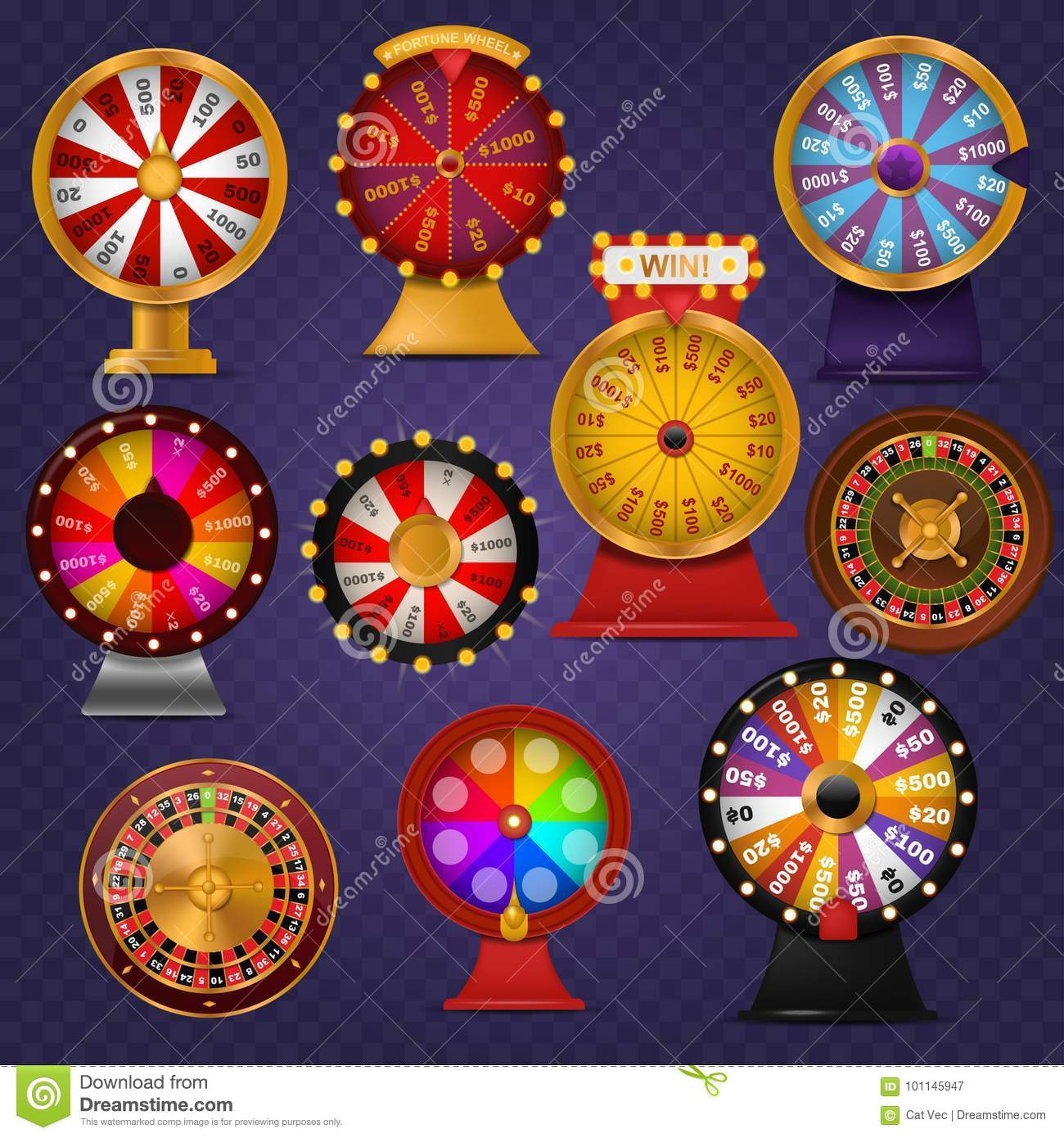 Spinning fortune wheel lucky roulette casino gamble lottery play winner chance spin slot machine vector illustration.