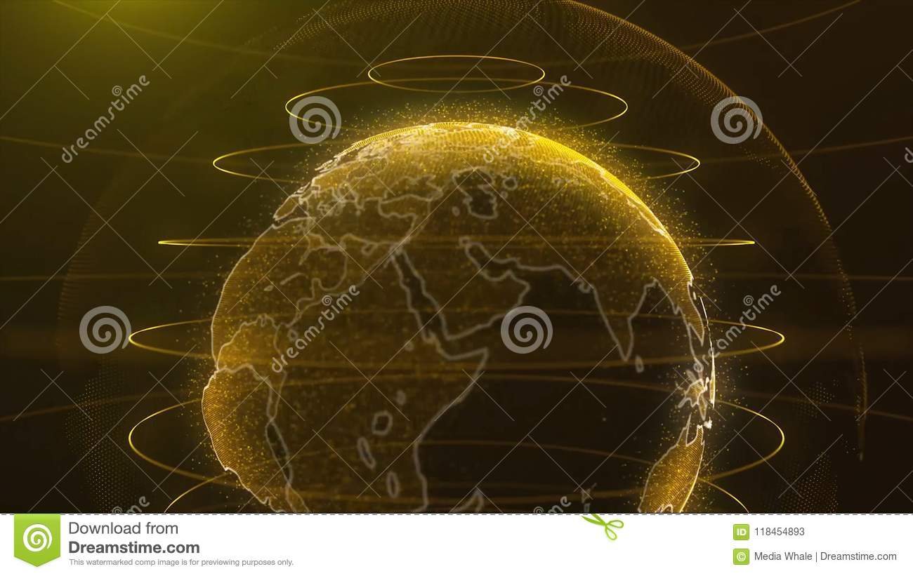 Spinning globe. Planet Earth as a glow hologram with power arc lines. Technology background loop. Planet earth rotating