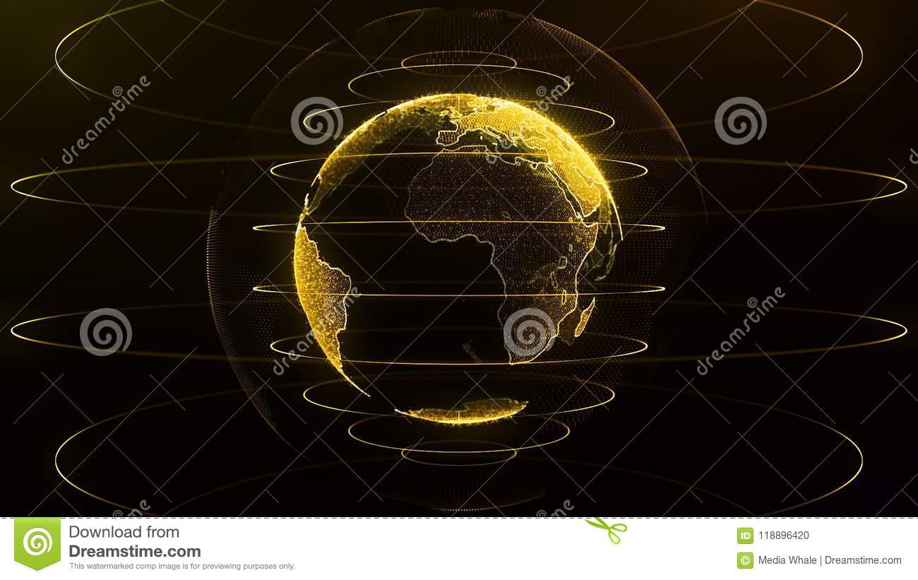 Spinning globe. Planet Earth as a orange glow hologram with power arc lines. Virtual Globe Futuristic Earth Hologram