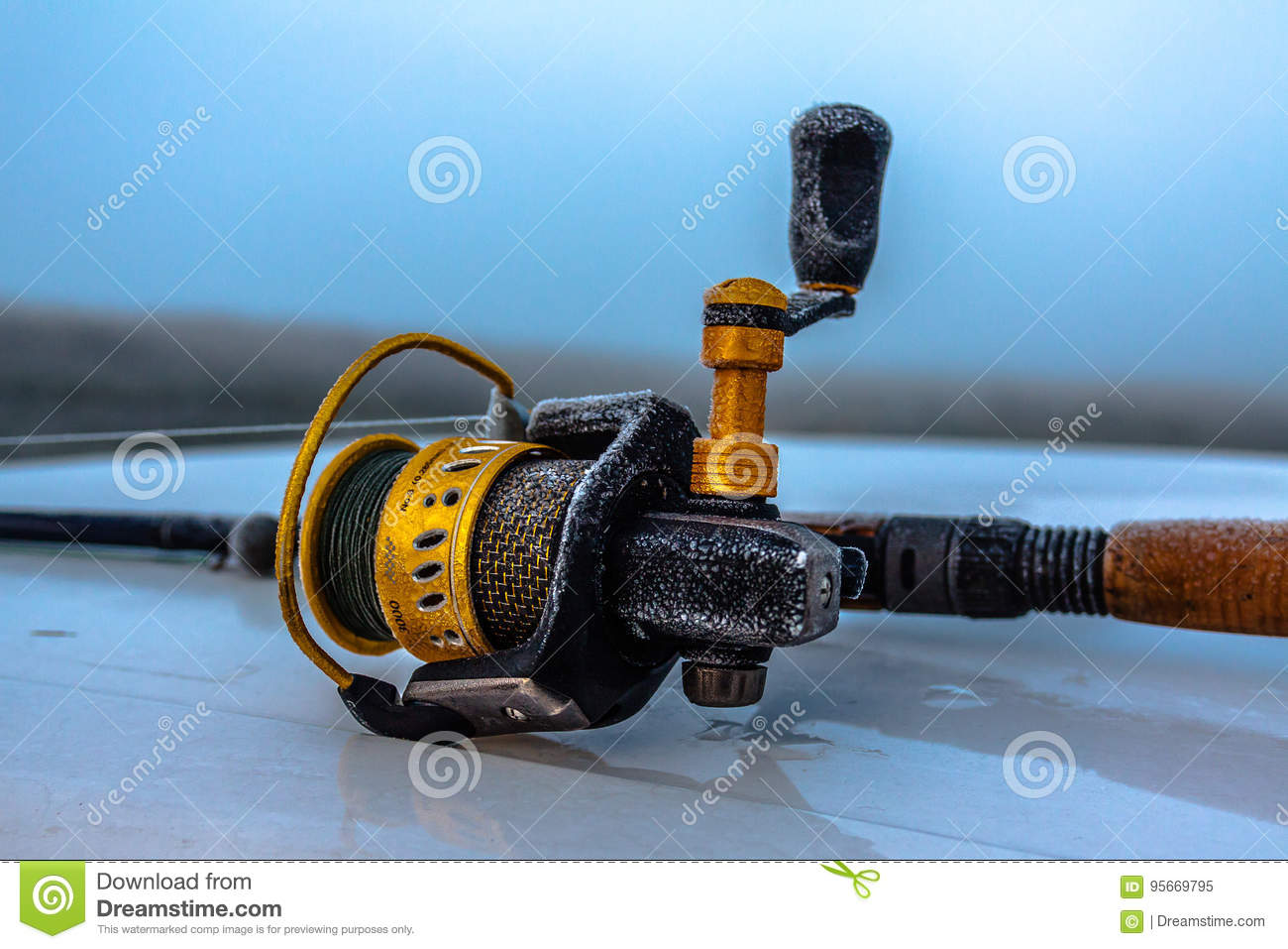 Spinning reel stock image  Image of bait, frost, reels