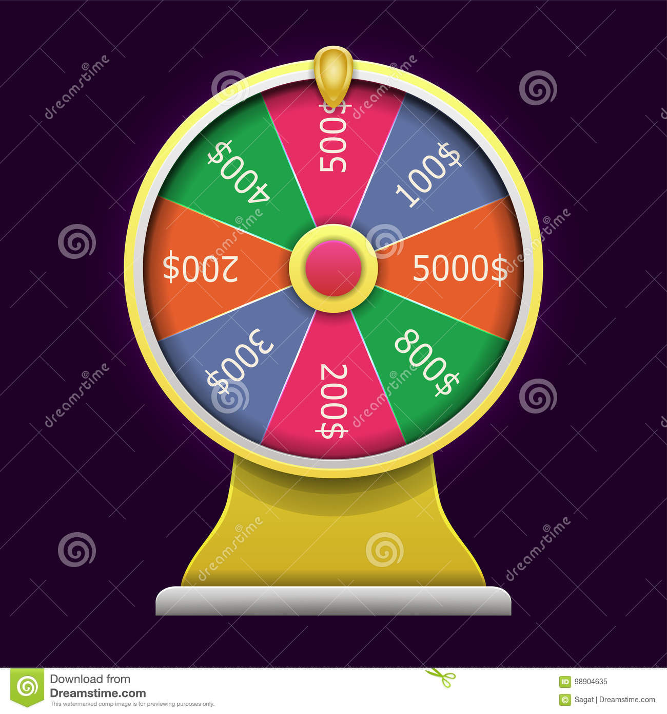 Spinning Wheel Of Fortune  3D Realistic Style  Stock Vector