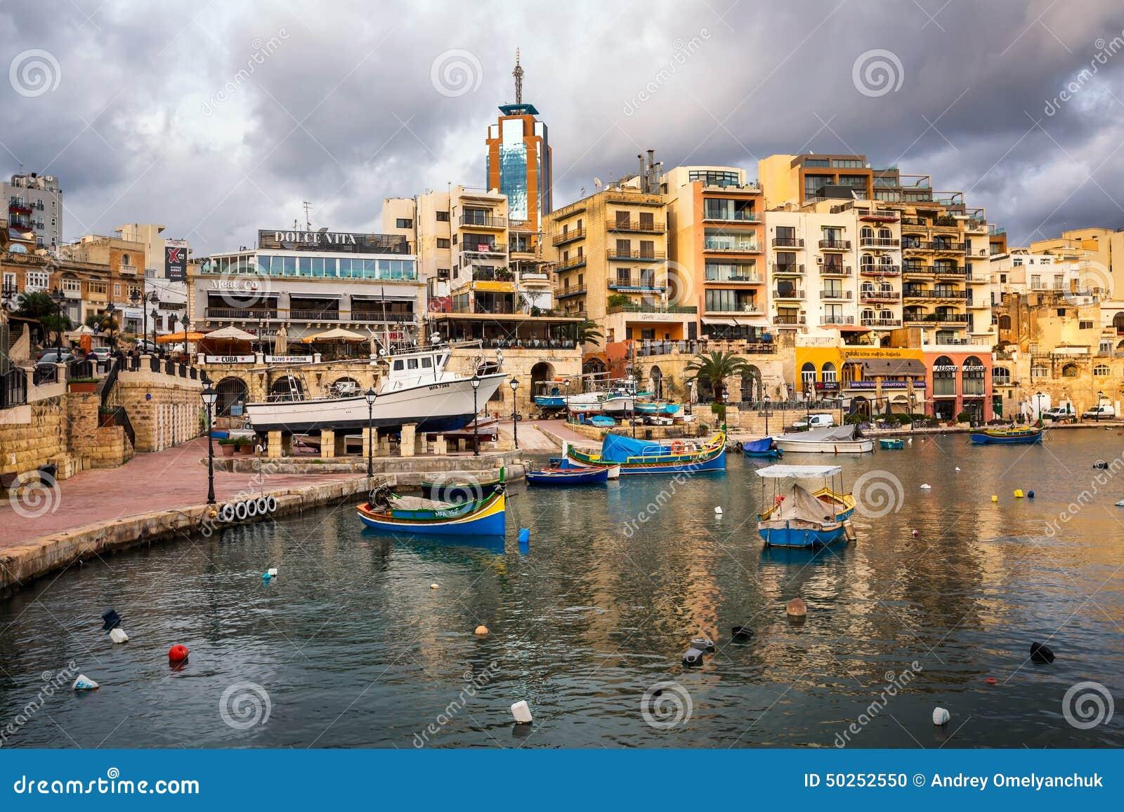 Spinola Bay And Portomaso Tower In Saint Julian, Malta Editorial Image - Image: 50252550