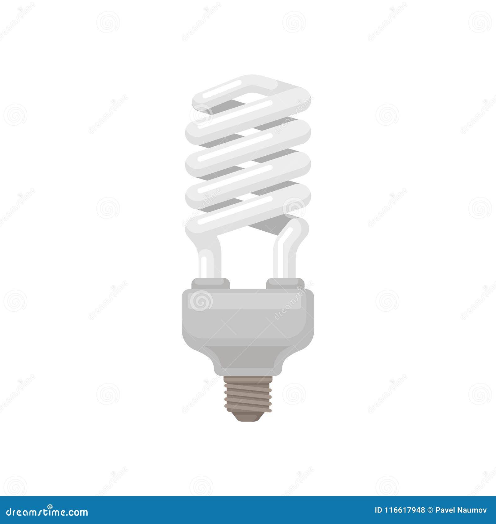 Spiraalvormig-gevormde compacte fluorescente lamp Energy-saving gloeilamp Vlak vectorelement voor infographic, promoaffiche of