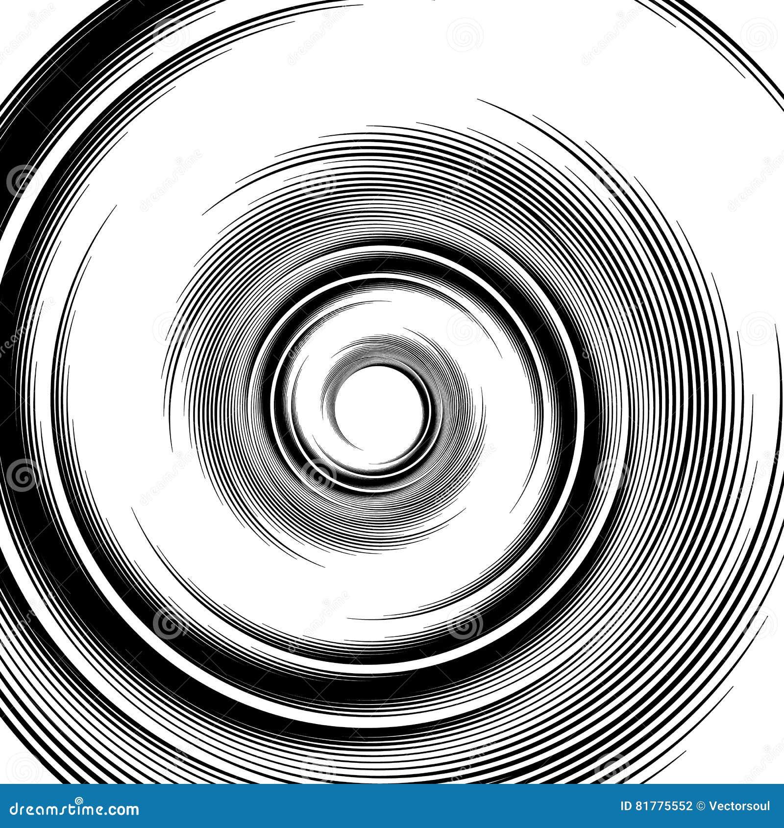 Spiraalvormig patroon Draaikolk, volute visueel effect - Abstracte monochro