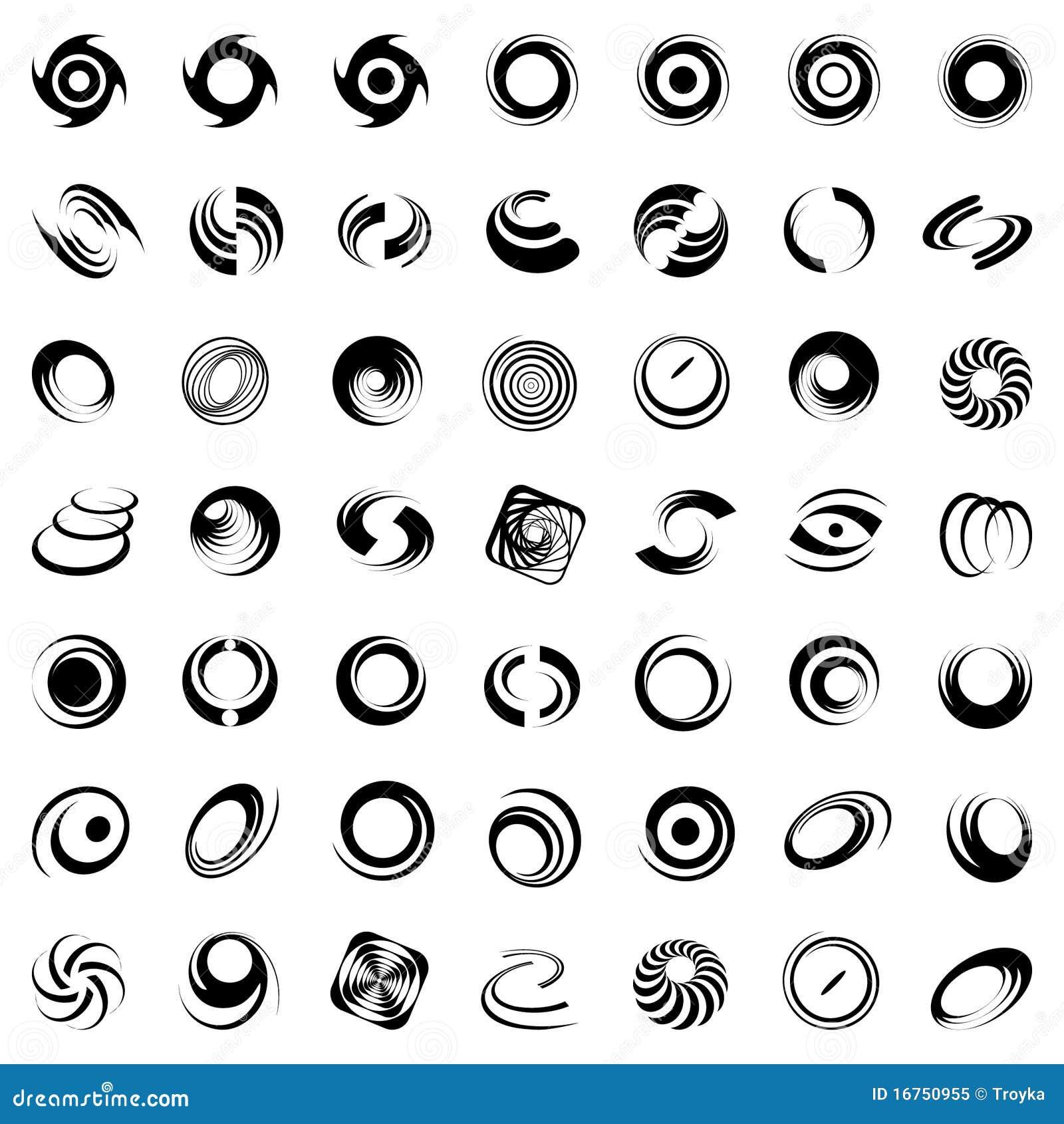 Spiraalvormige beweging en omwenteling. 49 ontwerpelementen.