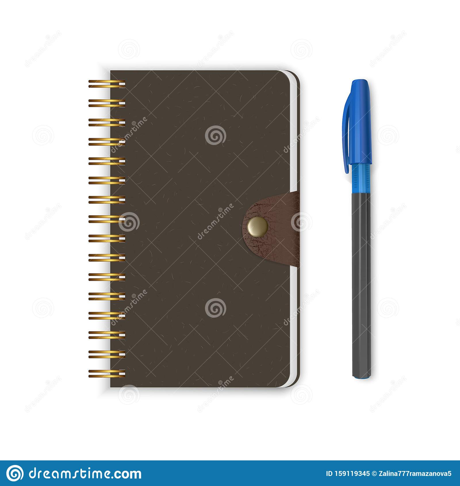 Realistic Logo Mockup On White Paper: Spiral Binding Notebook Or Notepad And Pen Isolated On