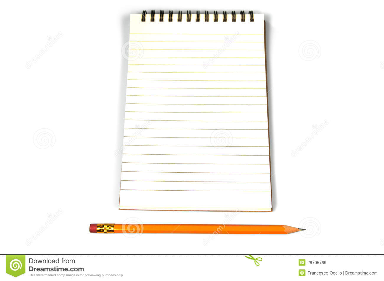 Blank Lined Paper And A Pencil Stock Image