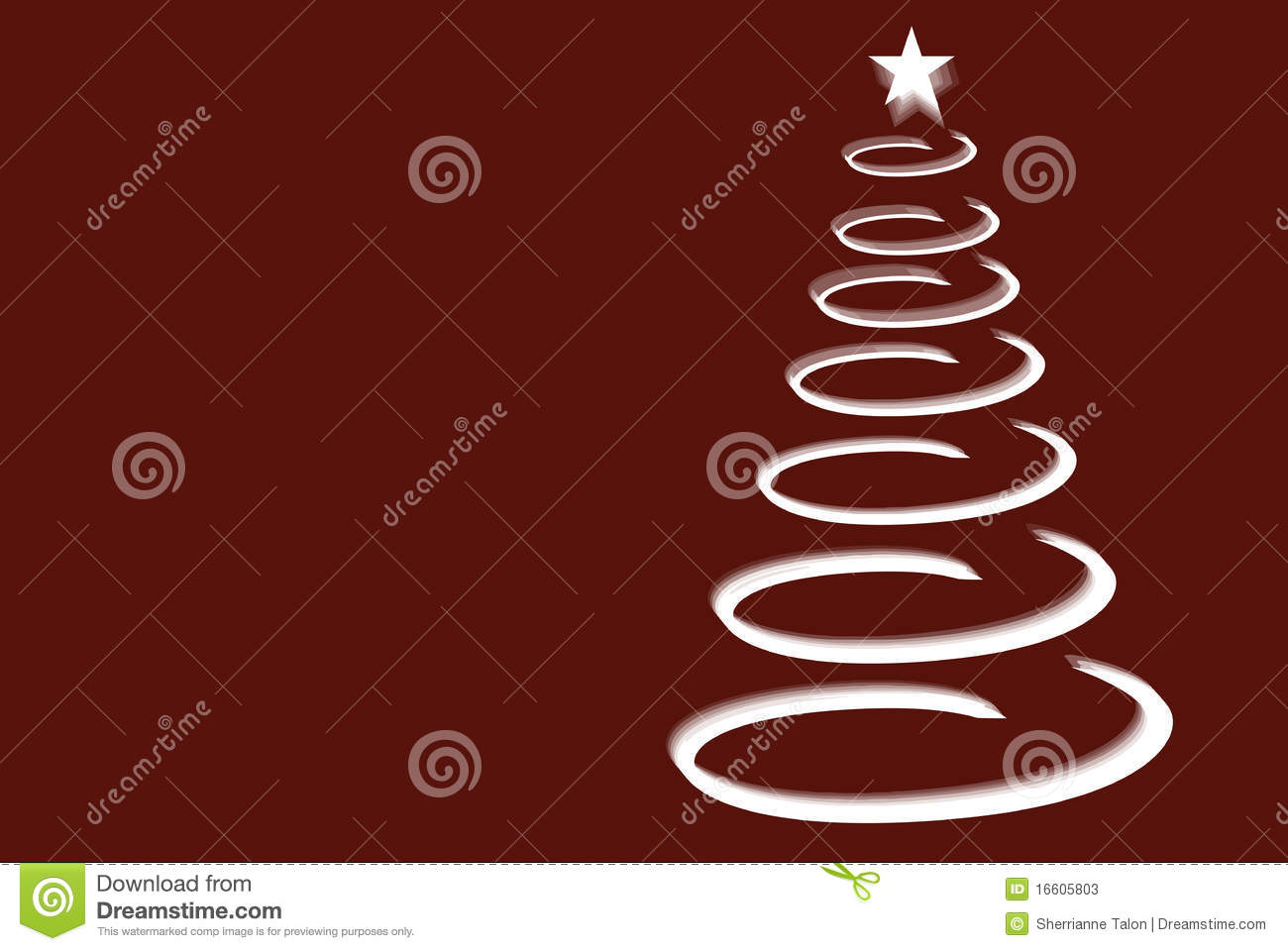 Illustration of silver spiral Christmas tree with star on red ...
