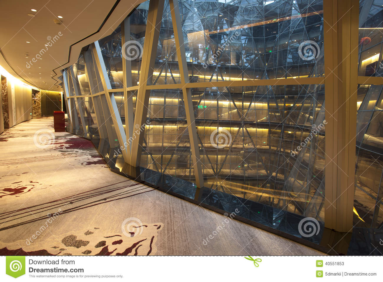 Spiral corridor with large glass wall stock photo image for Large glass wall