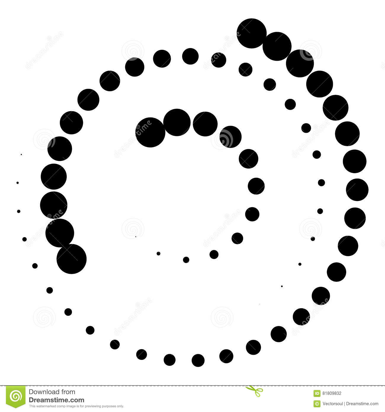 Spiral element with concentric circles. Abstract decorative elem