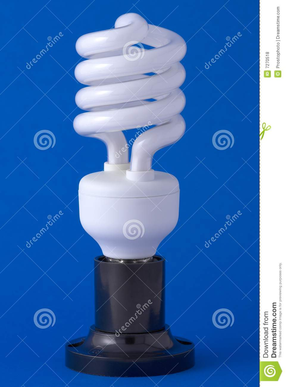 Spiral energy saving bulb on the background