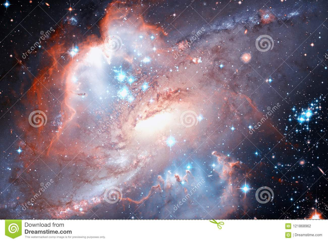 Spiral galaxy and stars in deep space. Elements of this image furnished by NASA