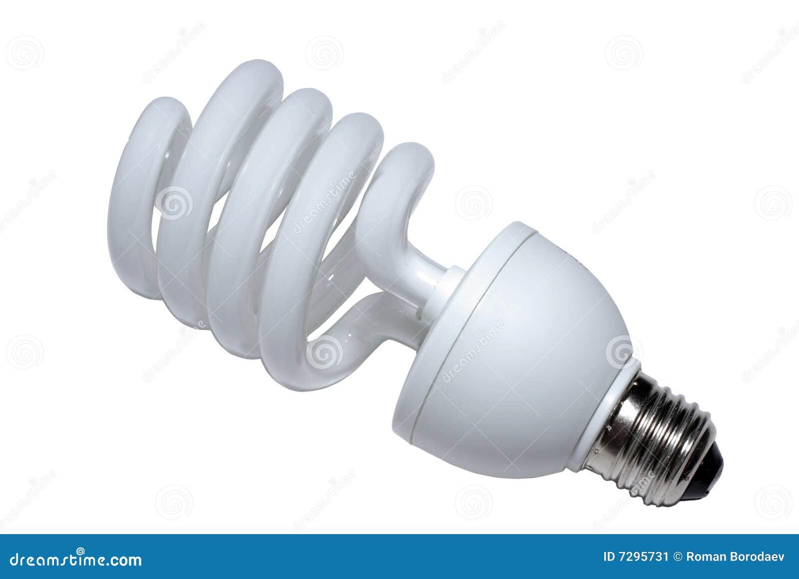 Spiral light bulb lamp isolated on white background economical fluorescent lightbulb CFL new energy economic modern saver saving