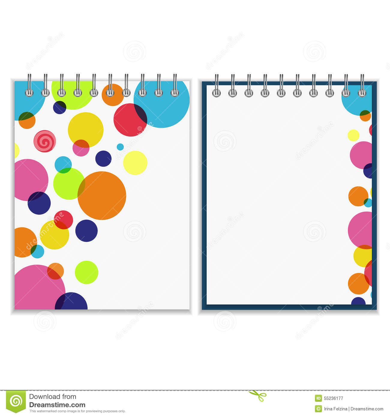 spiral notebook with bright colorful cover design stock